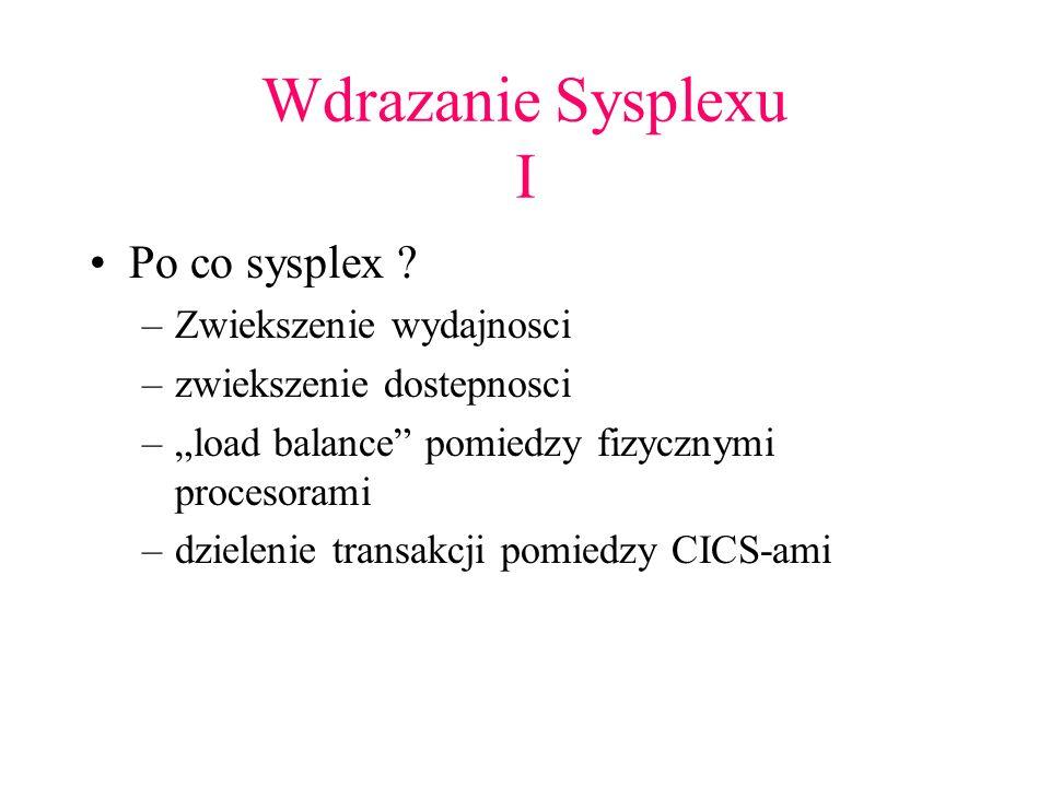 Wdrazanie Sysplexu I Po co sysplex Zwiekszenie wydajnosci