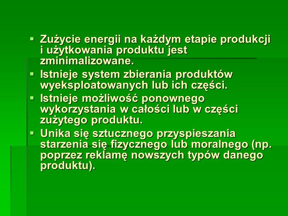 Zużycie energii na każdym etapie produkcji i użytkowania produktu jest zminimalizowane.