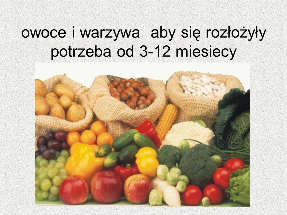 owoce i warzywa aby się rozłożyły potrzeba od 3-12 miesiecy