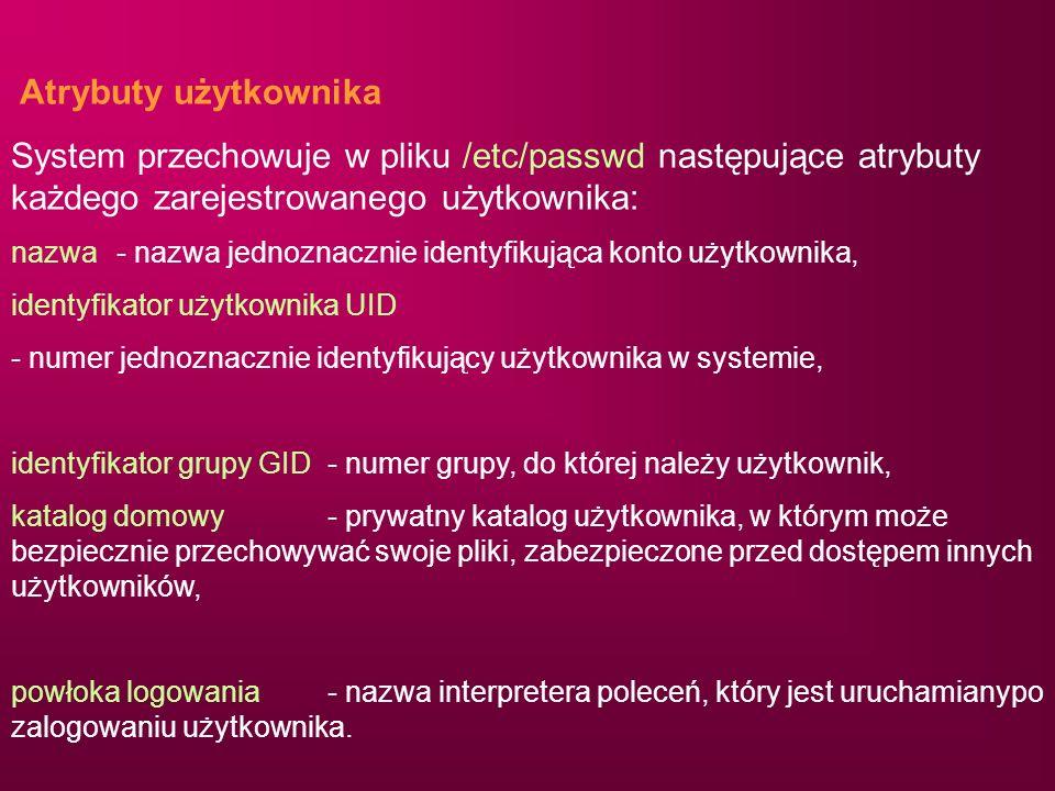 Atrybuty użytkownikaSystem przechowuje w pliku /etc/passwd następujące atrybuty każdego zarejestrowanego użytkownika: