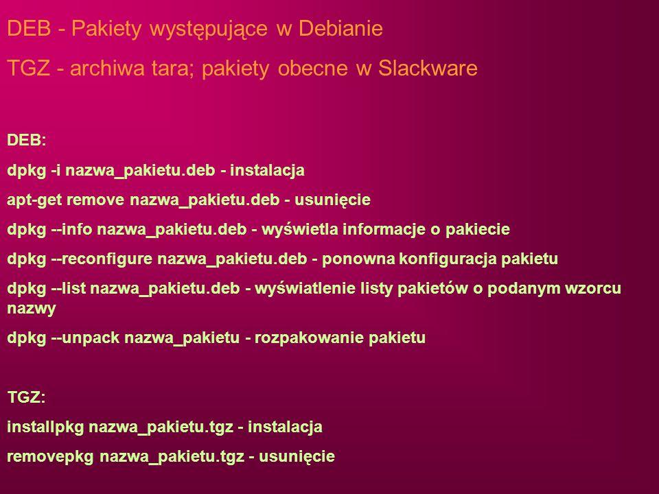 DEB - Pakiety występujące w Debianie
