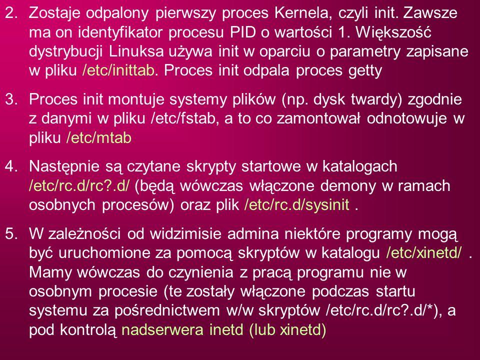 2. Zostaje odpalony pierwszy proces Kernela, czyli init