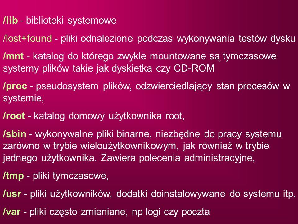 /lib - biblioteki systemowe