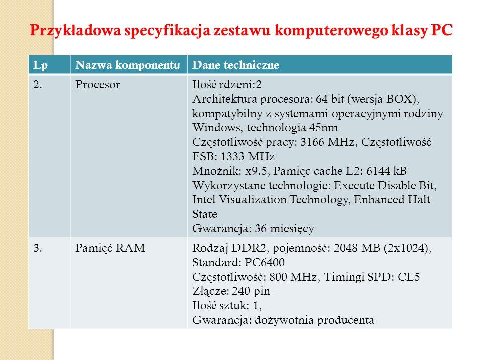 Przykładowa specyfikacja zestawu komputerowego klasy PC