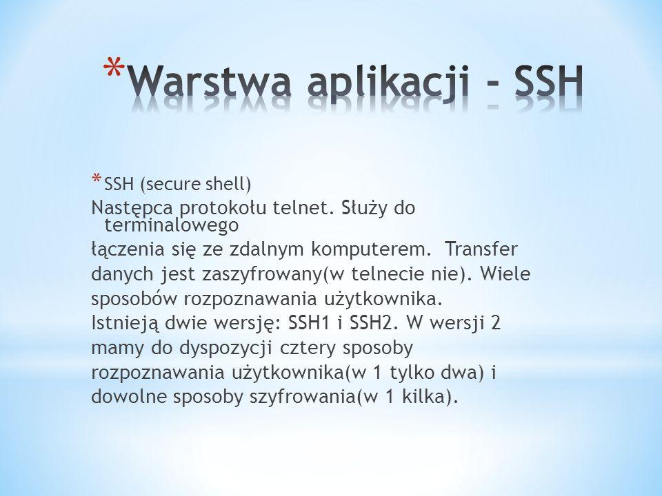 Warstwa aplikacji - SSH