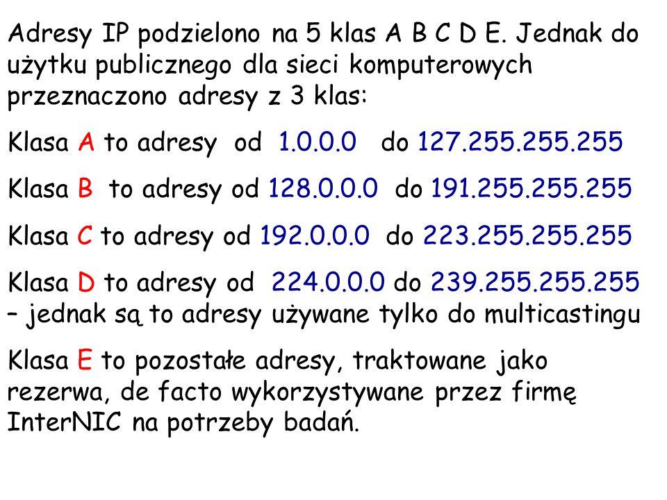 Adresy IP podzielono na 5 klas A B C D E