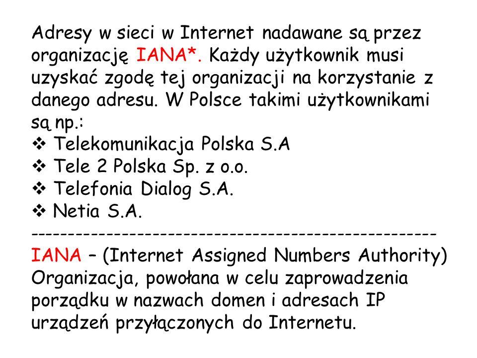 Adresy w sieci w Internet nadawane są przez organizację IANA