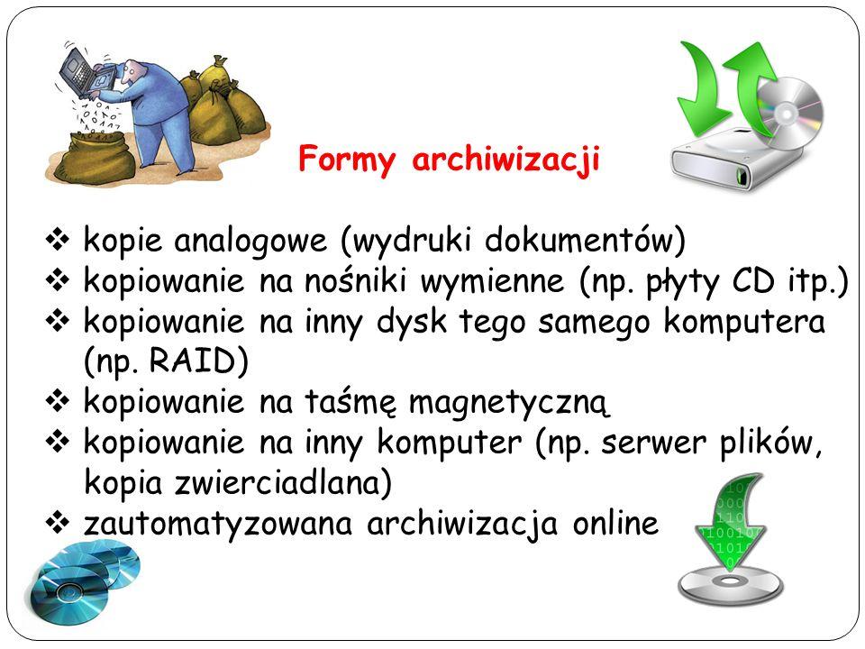 Formy archiwizacji kopie analogowe (wydruki dokumentów) kopiowanie na nośniki wymienne (np. płyty CD itp.)