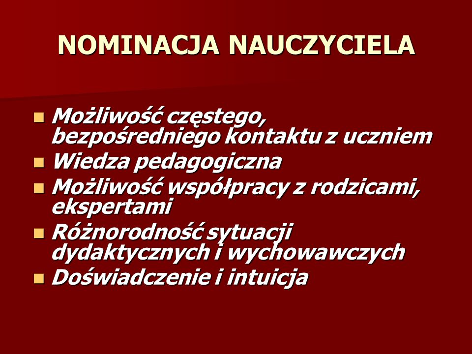 NOMINACJA NAUCZYCIELA