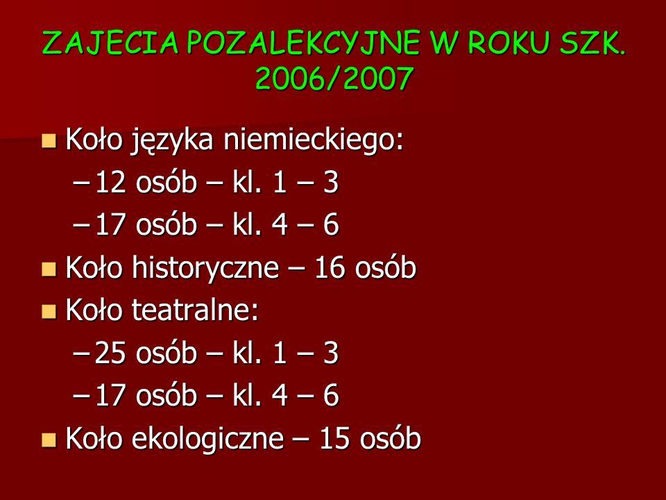 ZAJECIA POZALEKCYJNE W ROKU SZK. 2006/2007