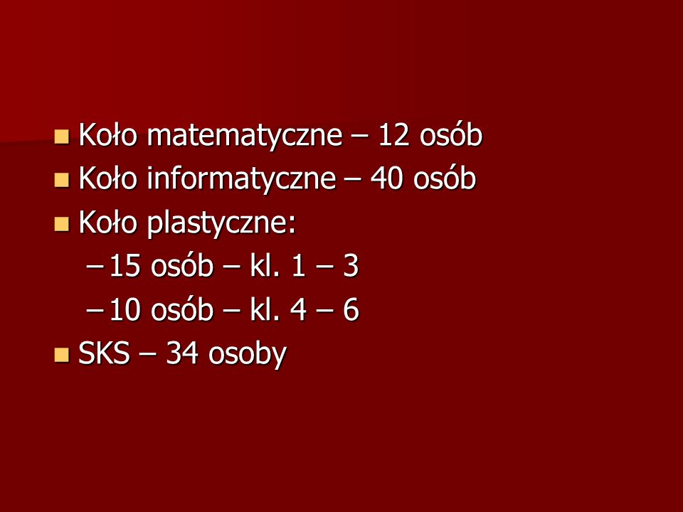 Koło matematyczne – 12 osób