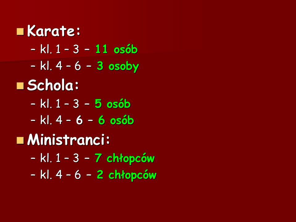 Karate: Schola: Ministranci: kl. 1 – 3 – 11 osób kl. 4 – 6 – 3 osoby