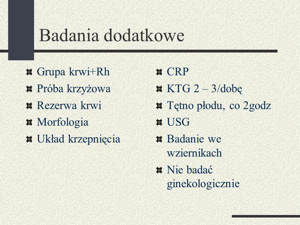 Badania dodatkowe Grupa krwi+Rh Próba krzyżowa Rezerwa krwi Morfologia