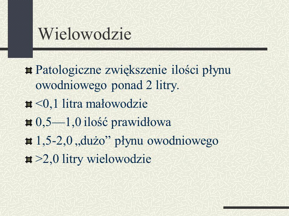 Wielowodzie Patologiczne zwiększenie ilości płynu owodniowego ponad 2 litry. <0,1 litra małowodzie.
