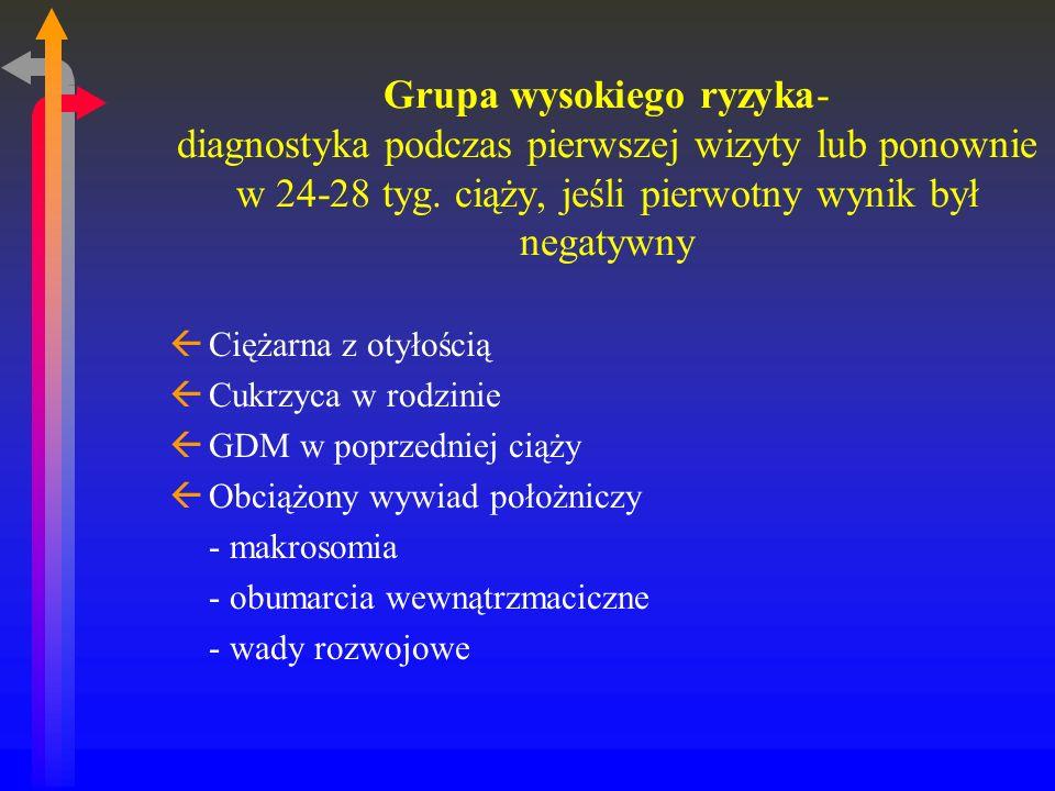 Grupa wysokiego ryzyka- diagnostyka podczas pierwszej wizyty lub ponownie w 24-28 tyg. ciąży, jeśli pierwotny wynik był negatywny