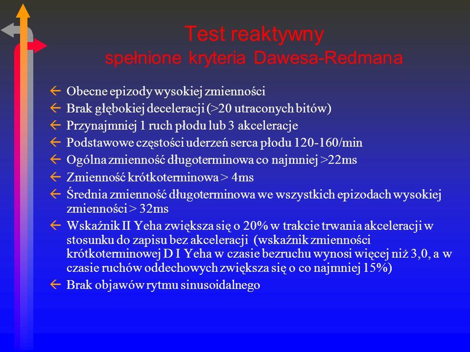 Test reaktywny spełnione kryteria Dawesa-Redmana