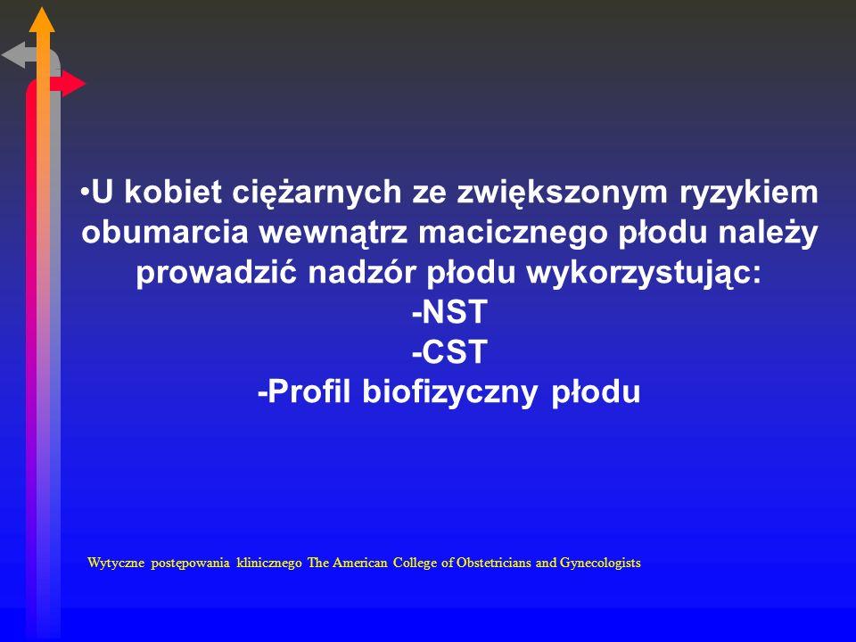 U kobiet ciężarnych ze zwiększonym ryzykiem obumarcia wewnątrz macicznego płodu należy prowadzić nadzór płodu wykorzystując: -NST -CST -Profil biofizyczny płodu