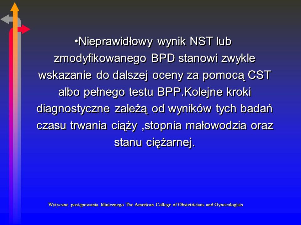 Nieprawidłowy wynik NST lub zmodyfikowanego BPD stanowi zwykle wskazanie do dalszej oceny za pomocą CST albo pełnego testu BPP.Kolejne kroki diagnostyczne zależą od wyników tych badań czasu trwania ciąży ,stopnia małowodzia oraz stanu ciężarnej.