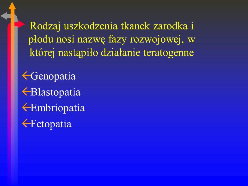 Rodzaj uszkodzenia tkanek zarodka i płodu nosi nazwę fazy rozwojowej, w której nastąpiło działanie teratogenne
