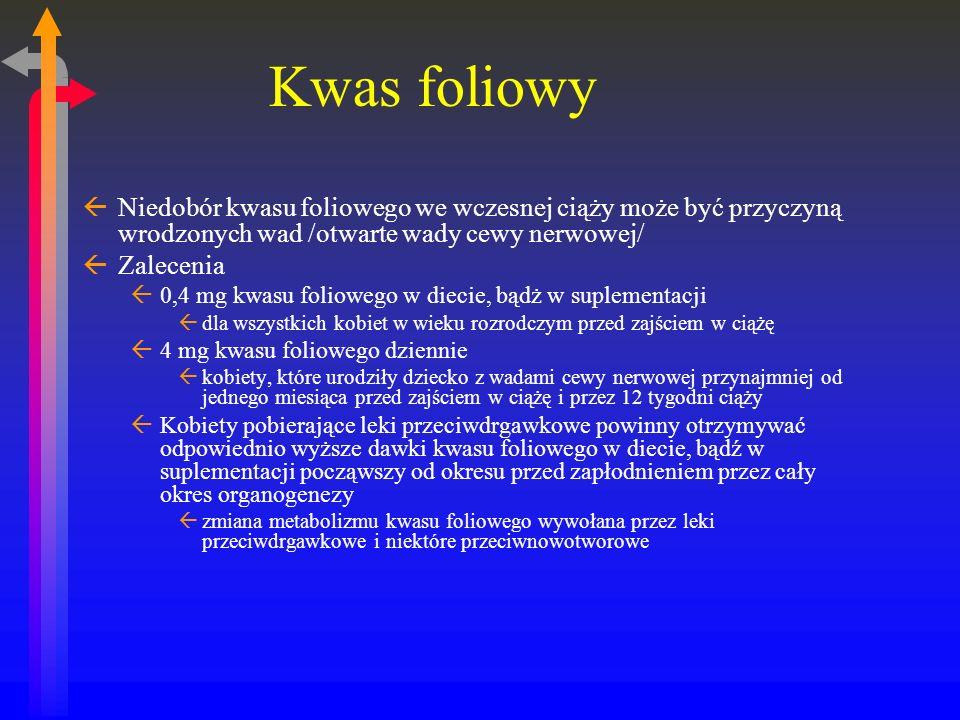 Kwas foliowy Niedobór kwasu foliowego we wczesnej ciąży może być przyczyną wrodzonych wad /otwarte wady cewy nerwowej/
