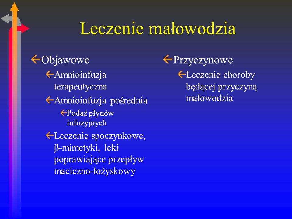Leczenie małowodzia Objawowe Przyczynowe Amnioinfuzja terapeutyczna