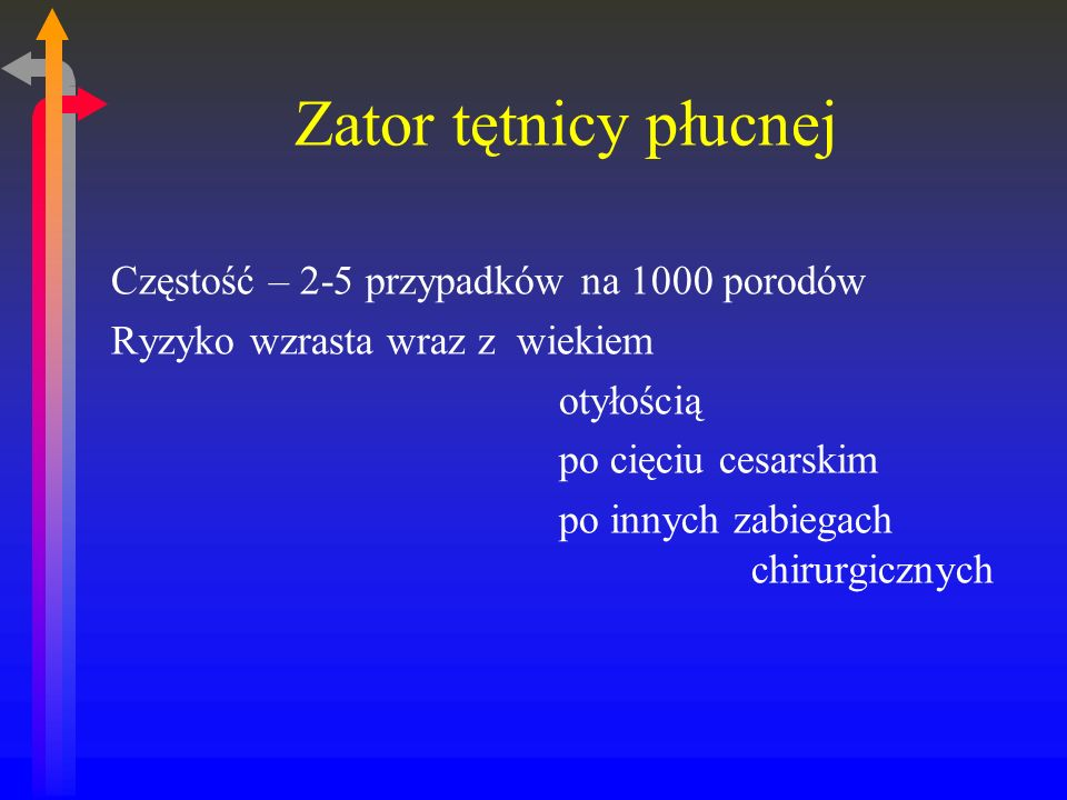 Zator tętnicy płucnej Częstość – 2-5 przypadków na 1000 porodów