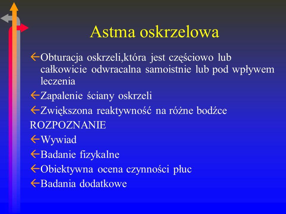 Astma oskrzelowa Obturacja oskrzeli,która jest częściowo lub całkowicie odwracalna samoistnie lub pod wpływem leczenia.
