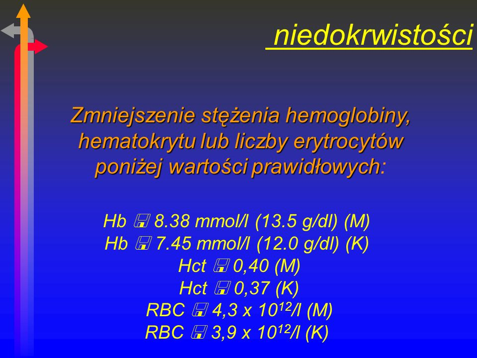 niedokrwistości Zmniejszenie stężenia hemoglobiny, hematokrytu lub liczby erytrocytów poniżej wartości prawidłowych: