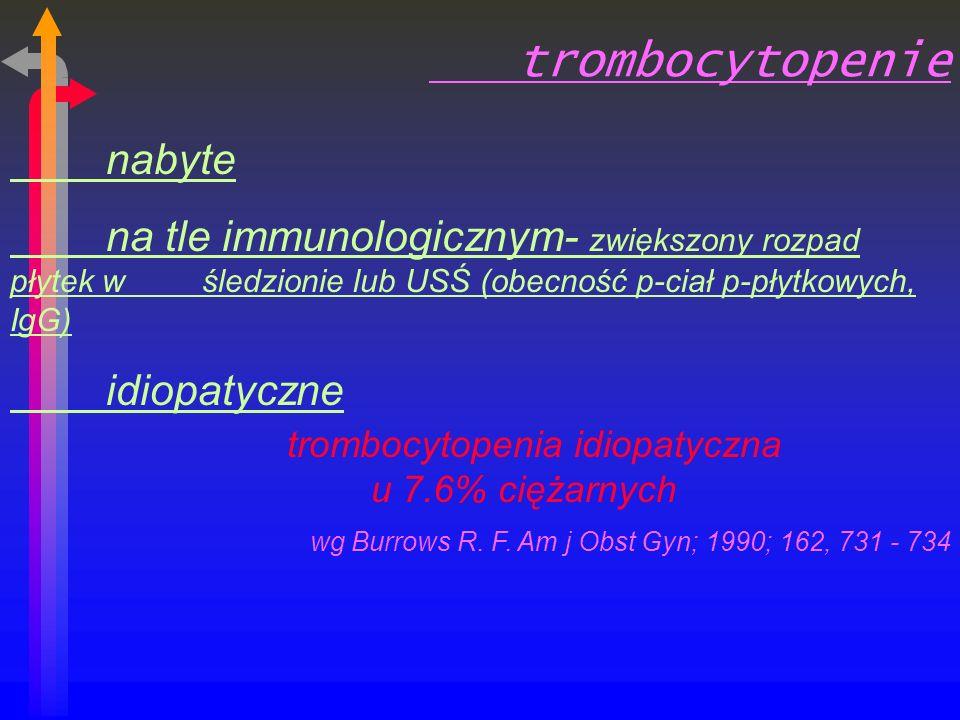 trombocytopenia idiopatyczna u 7.6% ciężarnych