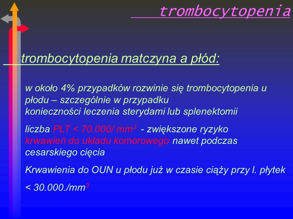trombocytopenia trombocytopenia matczyna a płód: