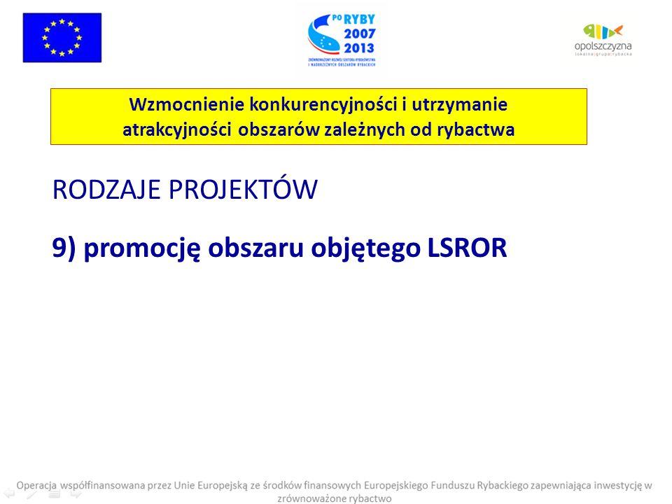 RODZAJE PROJEKTÓW 9) promocję obszaru objętego LSROR