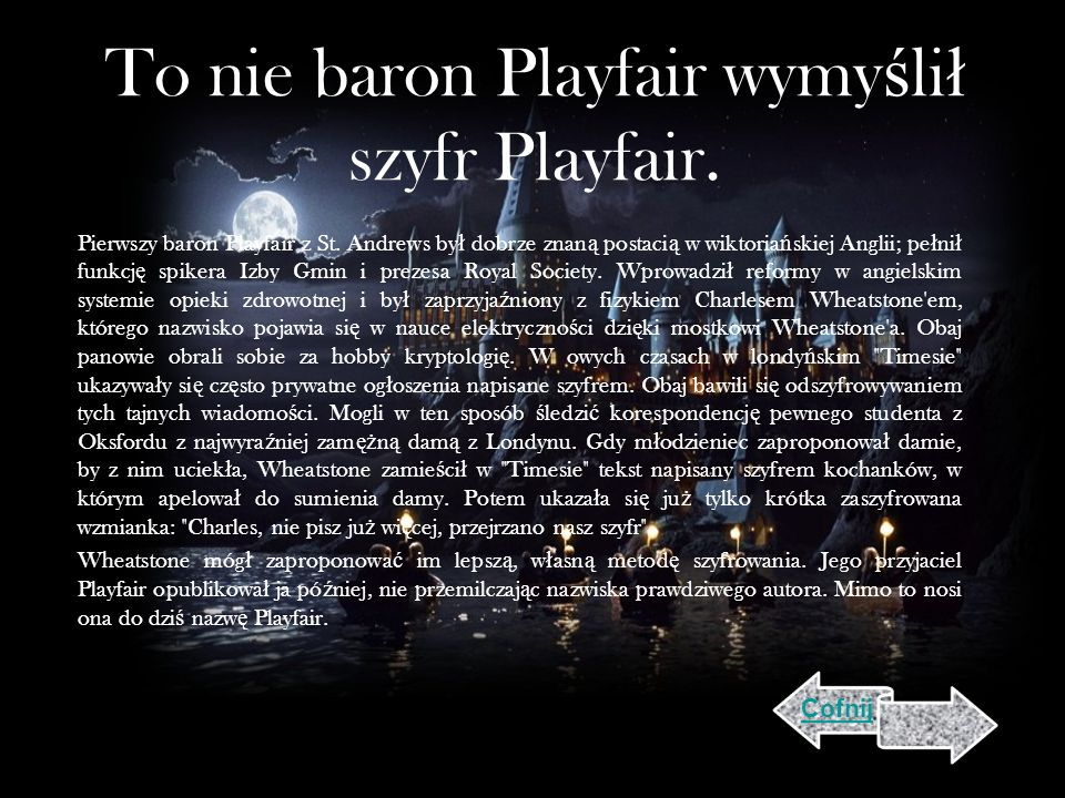 To nie baron Playfair wymyślił szyfr Playfair.