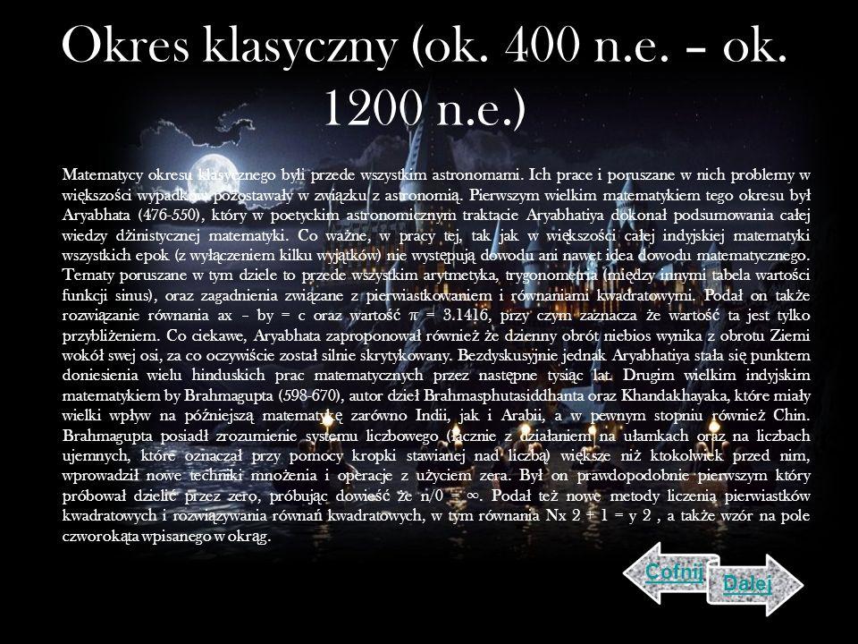 Okres klasyczny (ok. 400 n.e. – ok. 1200 n.e.)