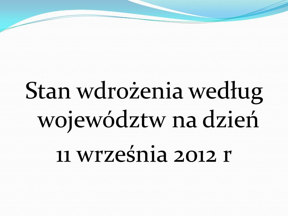 Stan wdrożenia według województw na dzień 11 września 2012 r