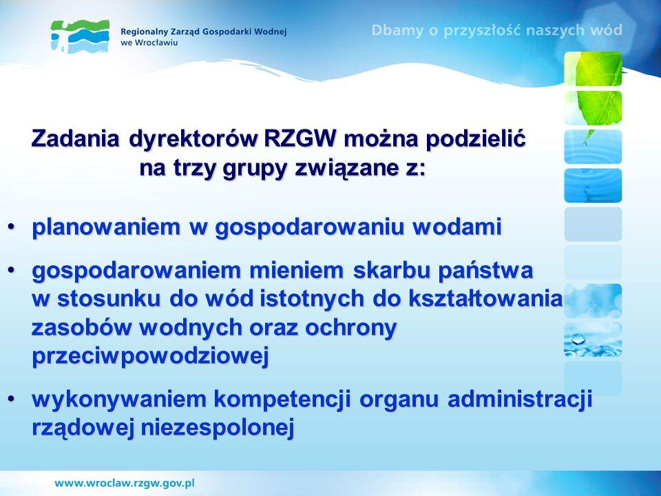 Zadania dyrektorów RZGW można podzielić na trzy grupy związane z:
