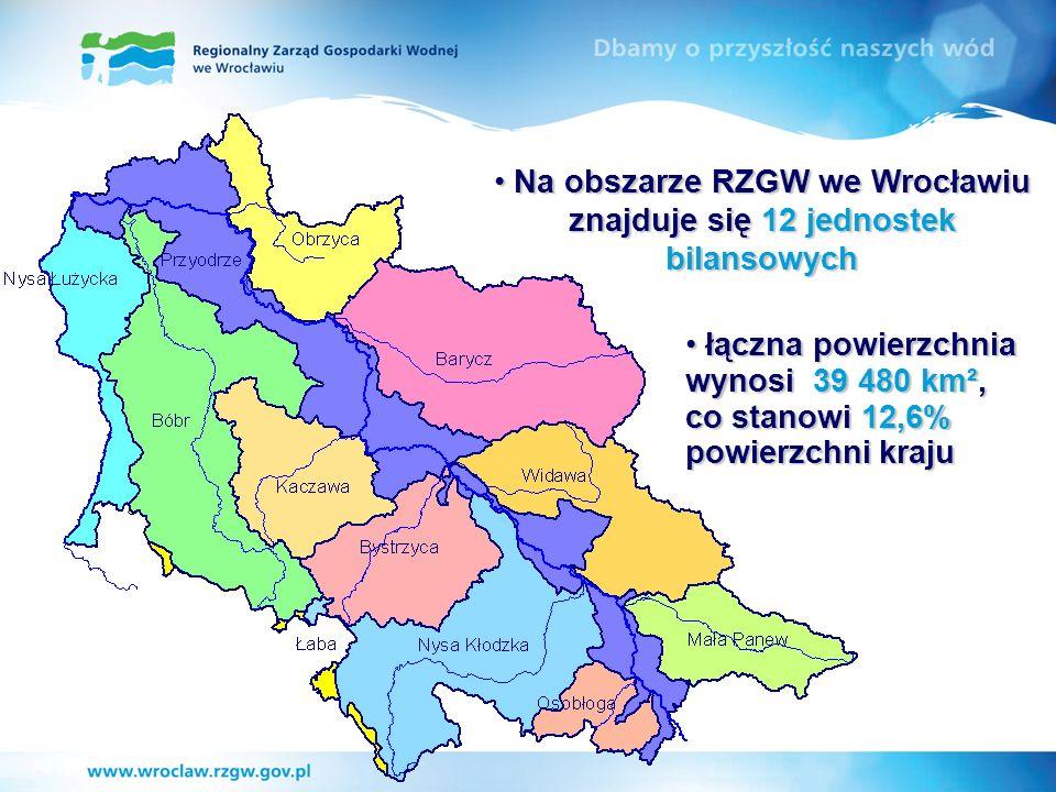 Na obszarze RZGW we Wrocławiu znajduje się 12 jednostek bilansowych