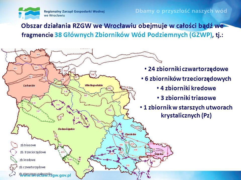 Obszar działania RZGW we Wrocławiu obejmuje w całości bądź we fragmencie 38 Głównych Zbiorników Wód Podziemnych (GZWP), tj.:
