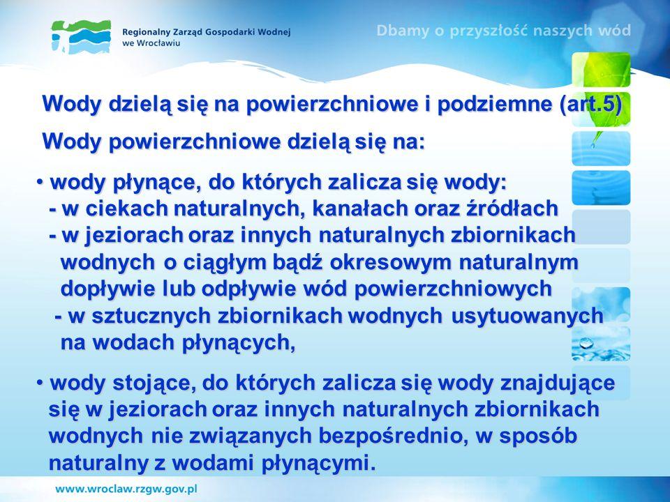 Wody dzielą się na powierzchniowe i podziemne (art.5)