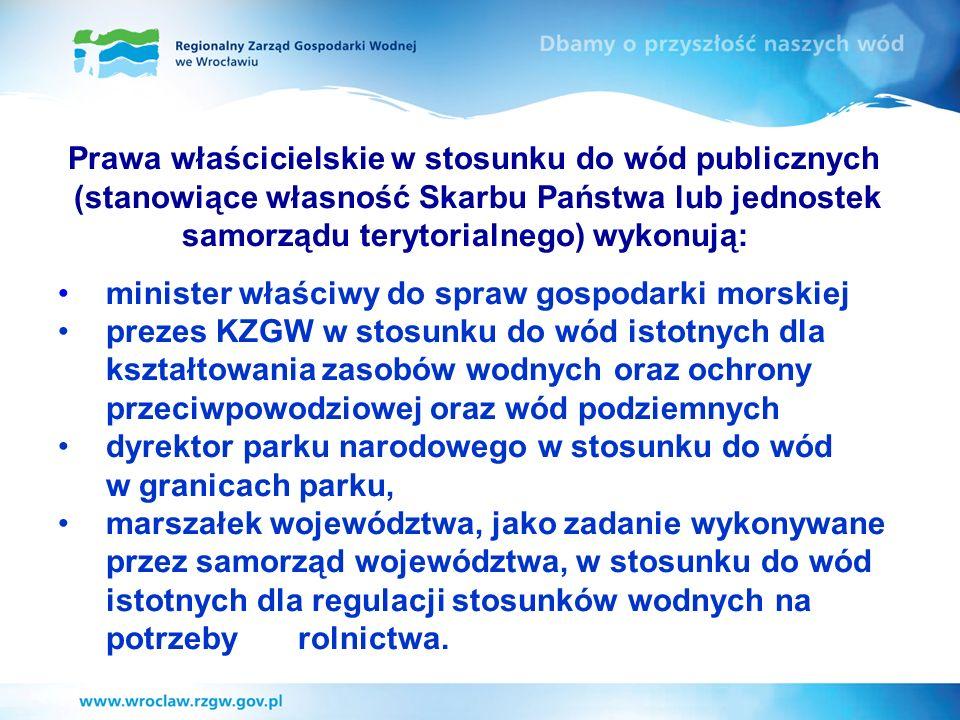 Prawa właścicielskie w stosunku do wód publicznych (stanowiące własność Skarbu Państwa lub jednostek samorządu terytorialnego) wykonują: