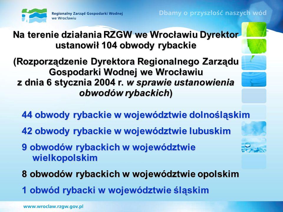 Na terenie działania RZGW we Wrocławiu Dyrektor ustanowił 104 obwody rybackie