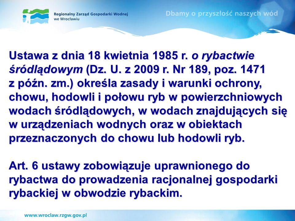 Ustawa z dnia 18 kwietnia 1985 r. o rybactwie śródlądowym (Dz. U