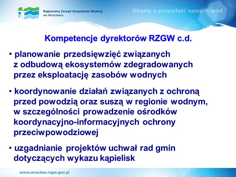 Kompetencje dyrektorów RZGW c.d.