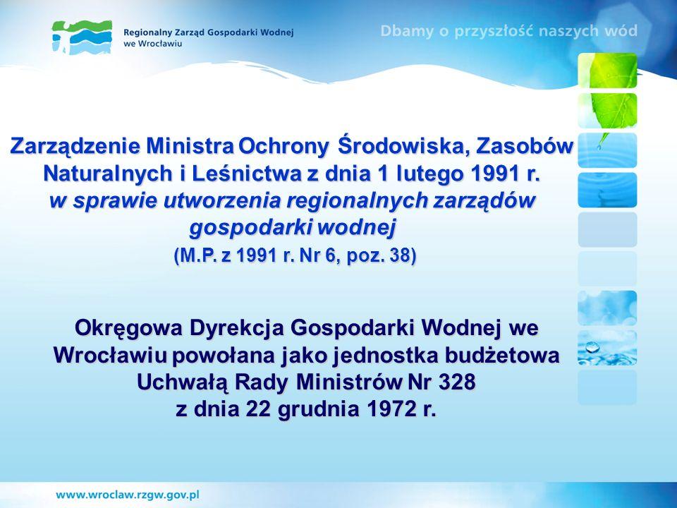Zarządzenie Ministra Ochrony Środowiska, Zasobów Naturalnych i Leśnictwa z dnia 1 lutego 1991 r. w sprawie utworzenia regionalnych zarządów gospodarki wodnej (M.P. z 1991 r. Nr 6, poz. 38)