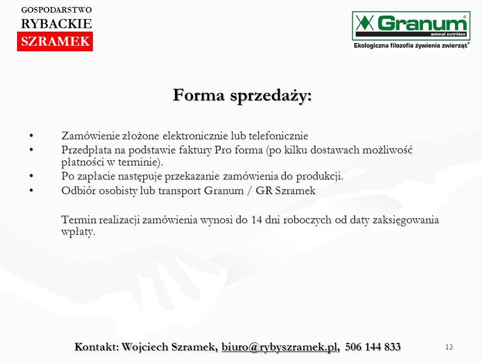 Kontakt: Wojciech Szramek, biuro@rybyszramek.pl, 506 144 833