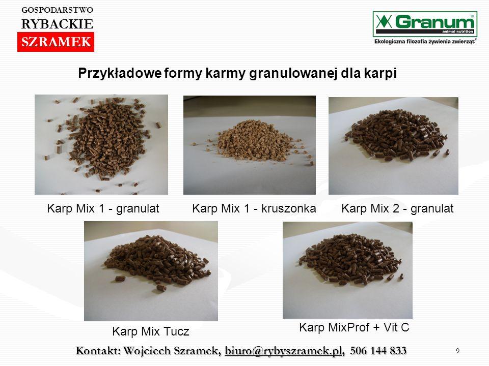 RYBACKIE SZRAMEK Przykładowe formy karmy granulowanej dla karpi