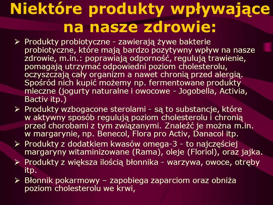 Niektóre produkty wpływające na nasze zdrowie: