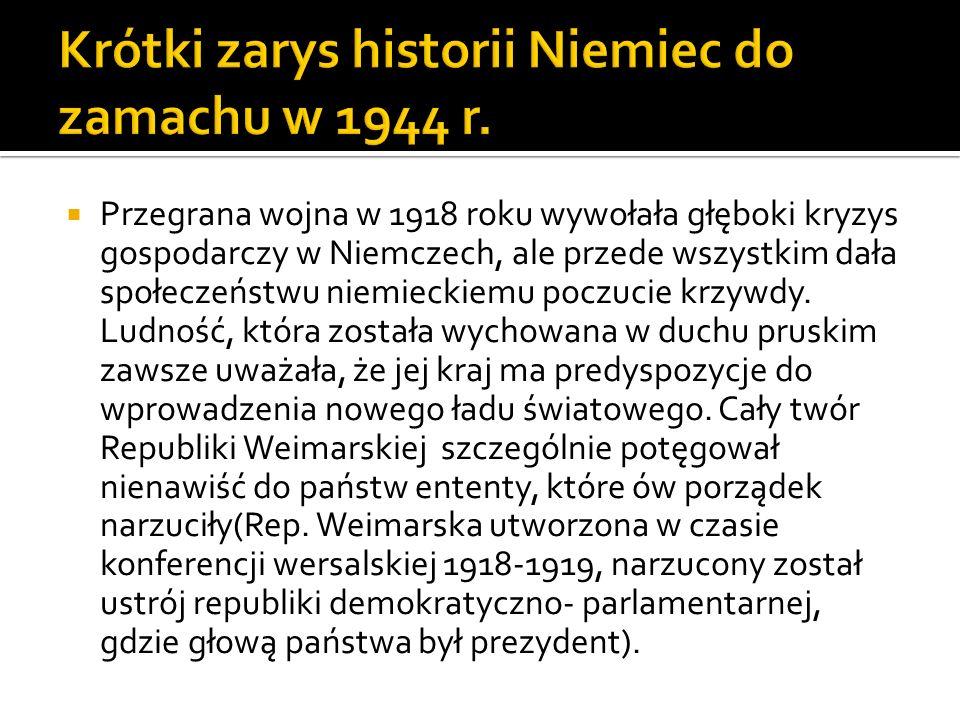 Krótki zarys historii Niemiec do zamachu w 1944 r.