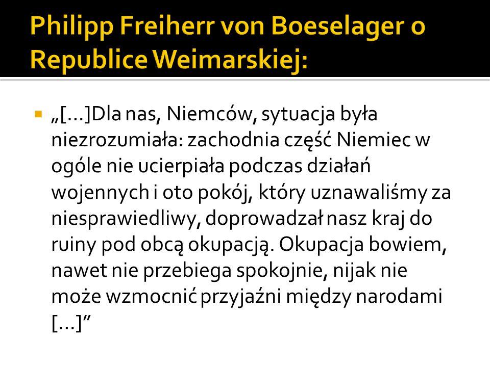 Philipp Freiherr von Boeselager o Republice Weimarskiej: