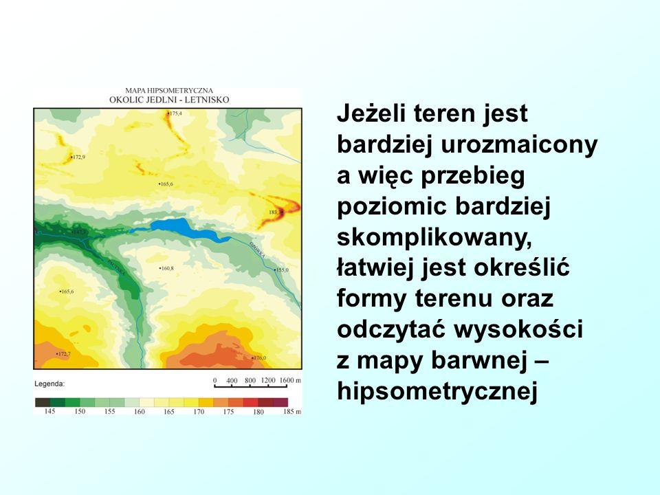 Jeżeli teren jest bardziej urozmaicony a więc przebieg poziomic bardziej skomplikowany, łatwiej jest określić formy terenu oraz odczytać wysokości z mapy barwnej – hipsometrycznej