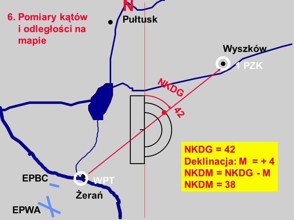 N 6. Pomiary kątów Pułtusk i odległości na mapie Wyszków 1 PZK NKDG 42